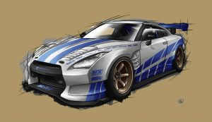nissan skyline GTR35 sketch iin fast and furious decals