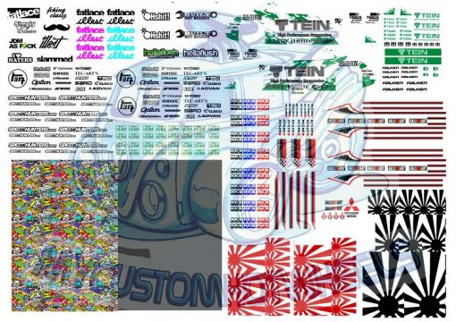 JDM Racing Decals for 1:64 scale Diecast Cars - Hot Wheels Decals