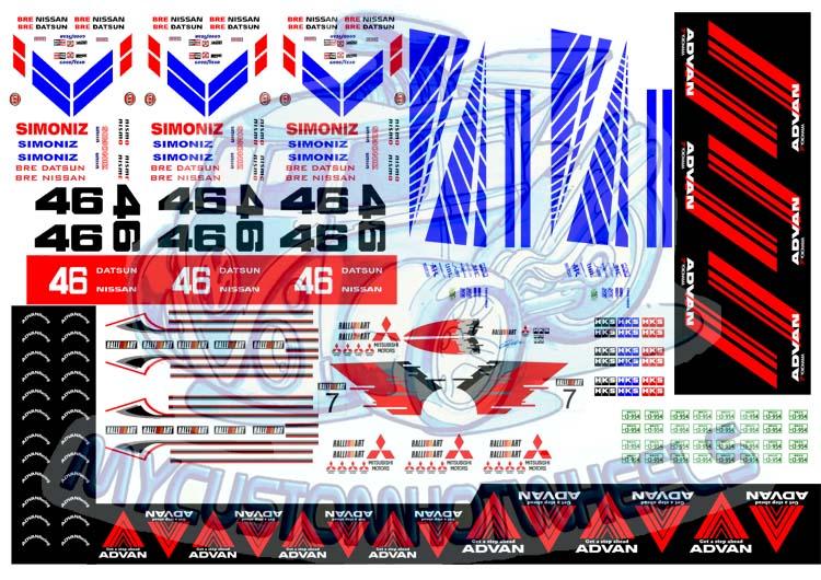 JDM Racing Decals Brands Pack  My Custom Hotwheels - Racing decals