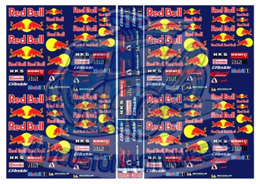 Redbull Racing Decals for Hot Wheels Diecast Cars