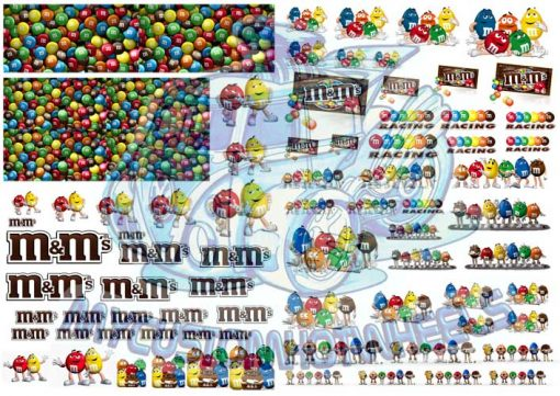 M&Ms Racing Waterslide decals for Hot Wheels Diecast Cars