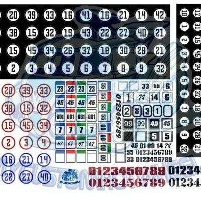 square and circle racing number decals for hot wheels and model cars