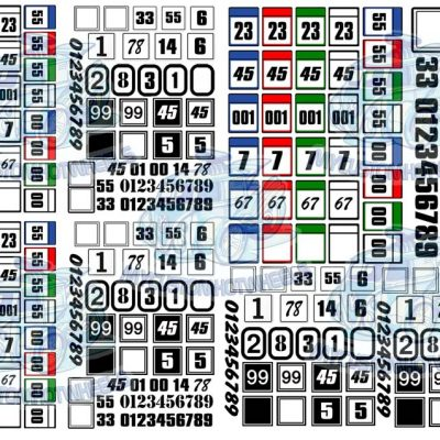 square race number decals for hot wheels and model cars