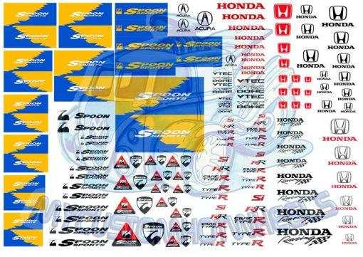 honda spoon racing waterslide racing decals for model cars