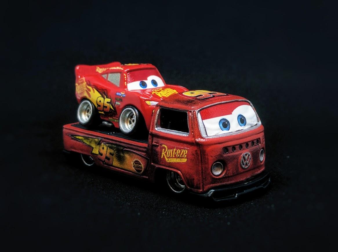 lightning mcqueen 'cars' decals  custom hot wheels