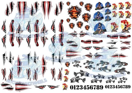 shark mouth decals and bomber nose art pin-up girl decals for model cars