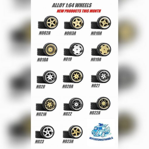 1/64 alloy wheels and rubber tyres for hot wheels diecast cars