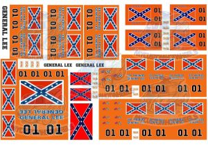 dukes of hazzard general lee decals in 1:64 scale