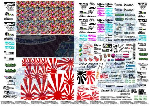 Generic JDM Decals for 1:64 scale Model Cars