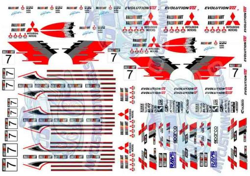 Mitsubishi Ralliart Decals for Hot Wheels Model Cars