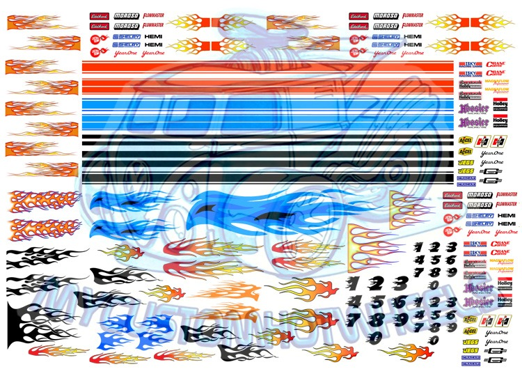 racing and flame decals in 1:64 scale for hot wheels and diecast cars