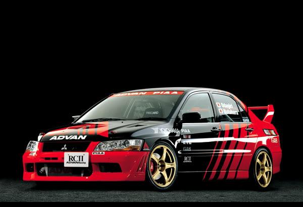 Advan racing decalson Mitsubishi Evo 7
