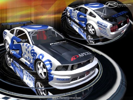 sparco racing decals on a Mustang
