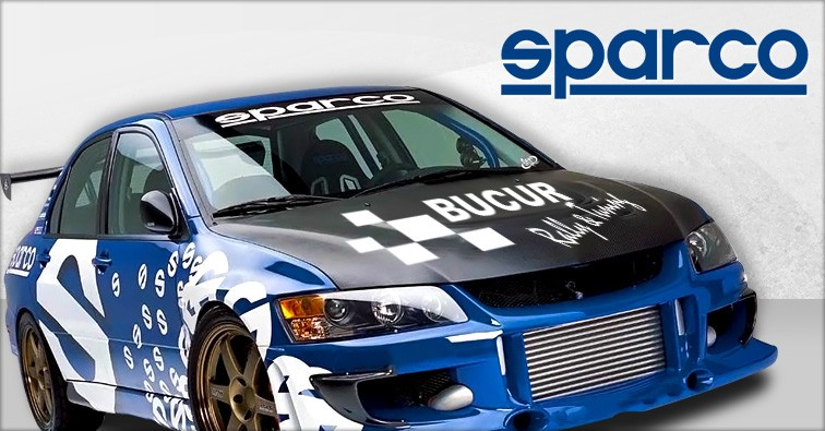 sparco racing decals on an evo 9