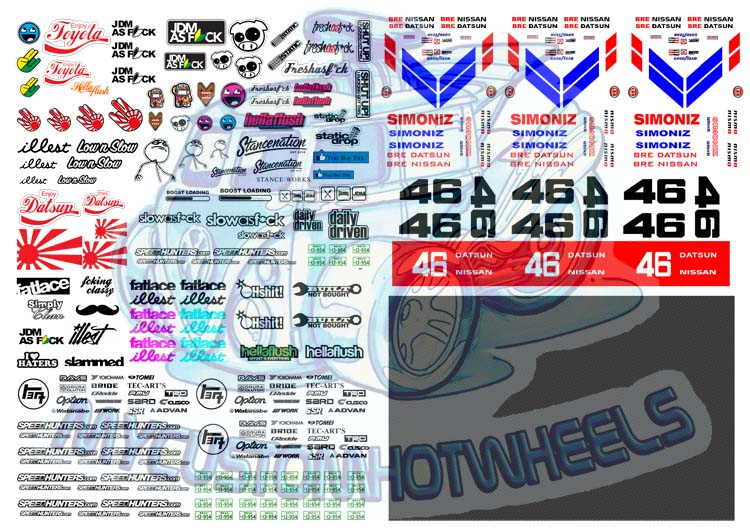 Hellasweet jdm waterslide decals custom hotwheels model cars