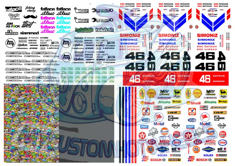 JDM Decals for Hot Wheels and Model cars