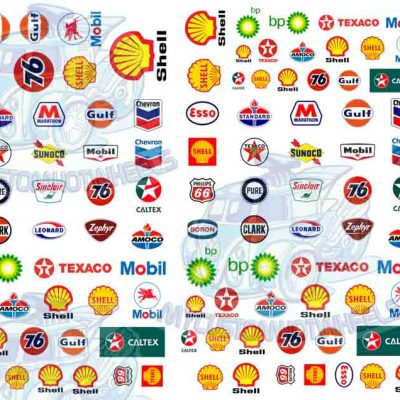 gas station and petrol company decals for Hot Wheels