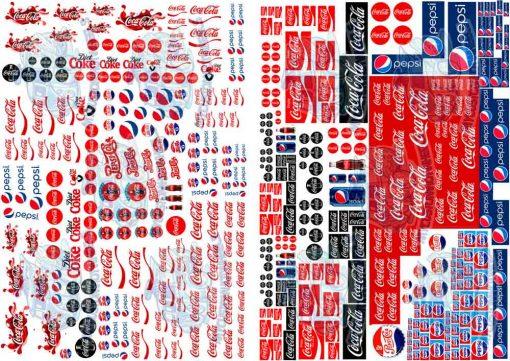 Coca Cola Vs Pepsi Decals for Hot Wheels