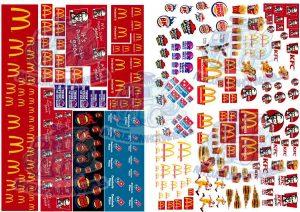 McDonalds, KFC, Pizza Hut, Dominos Pizza decals for model cars