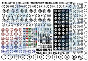 Round racing number decals for model cars