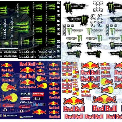 Monster and Redbull Racing Decals in 1:43 scale