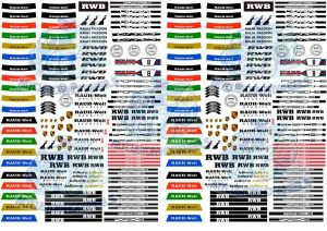 Rauh Welt RWB Porsche Racing Decals for 1:64 scale Hot Wheels Diecast Cars