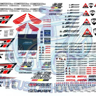 honda mugen and buddy club waterslide racing decals for model cars