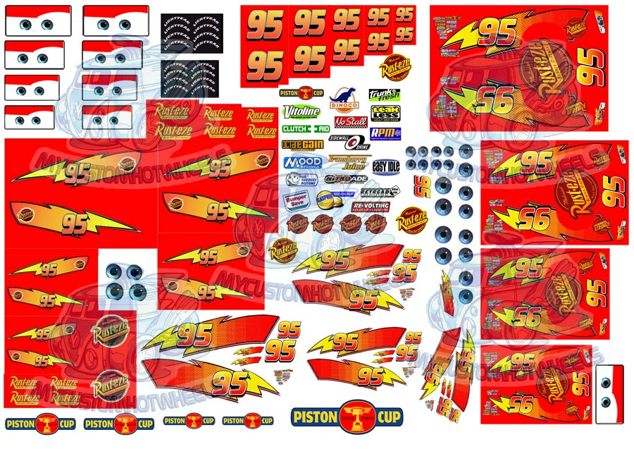 Lightning McQueen Decals in 1:64 scale for Hot Wheels and model Cars