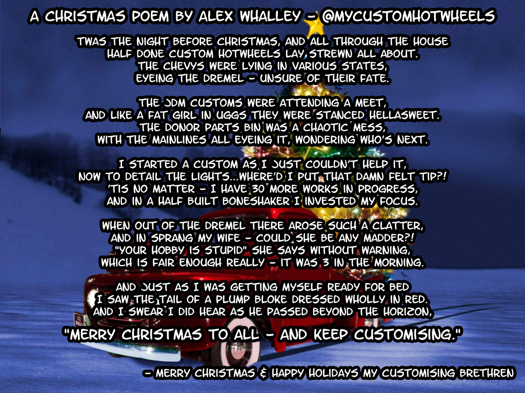 my custom hotwheels christmas poem