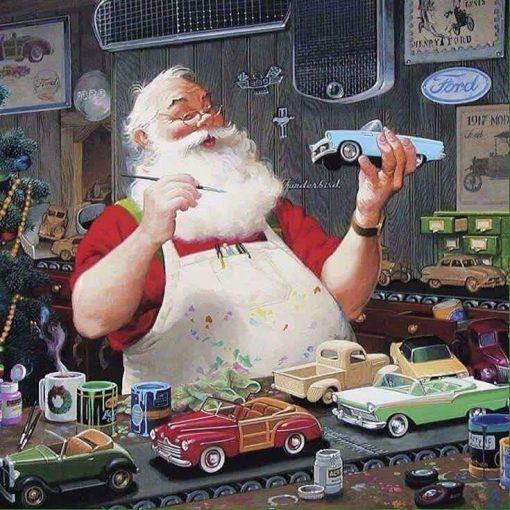 santa claus loves customising diecast cars