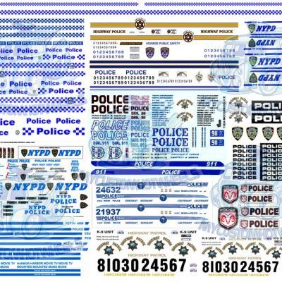 1:64 scale Police decals for hot wheels diecast cars