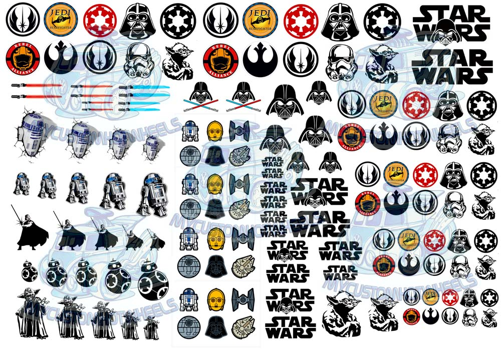 Star Wars Jedi decals in 1:64 scale for model cars - My Custom Hot Wheels