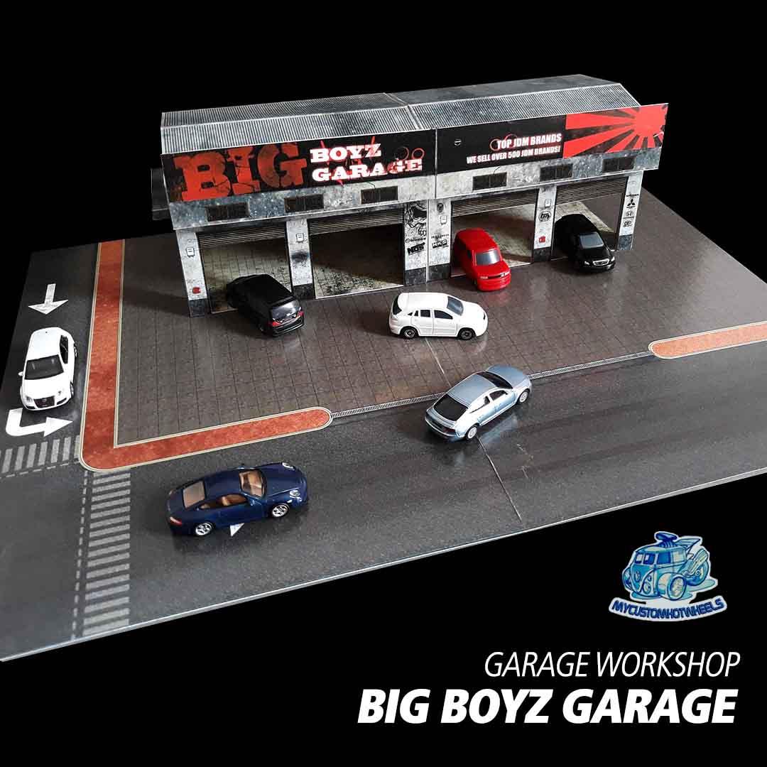 Big Boyz Garage Diorama Building Kit in 1/64 scale