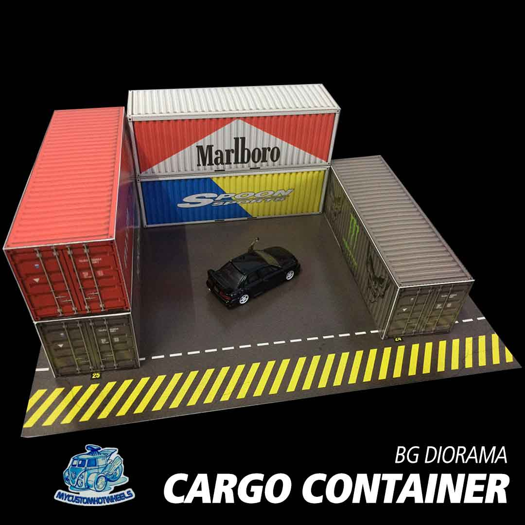 shipping container diorama scene - 1/64 scale building kits