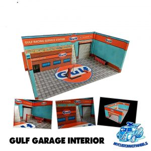 Gulf Garage Workshop diorama for 1:64 Hot Wheels