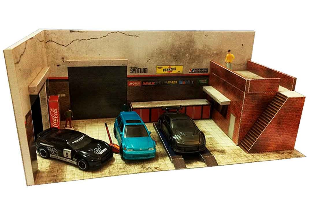 Interior Garage 1:64 diorama building kit for Hot Wheels cars