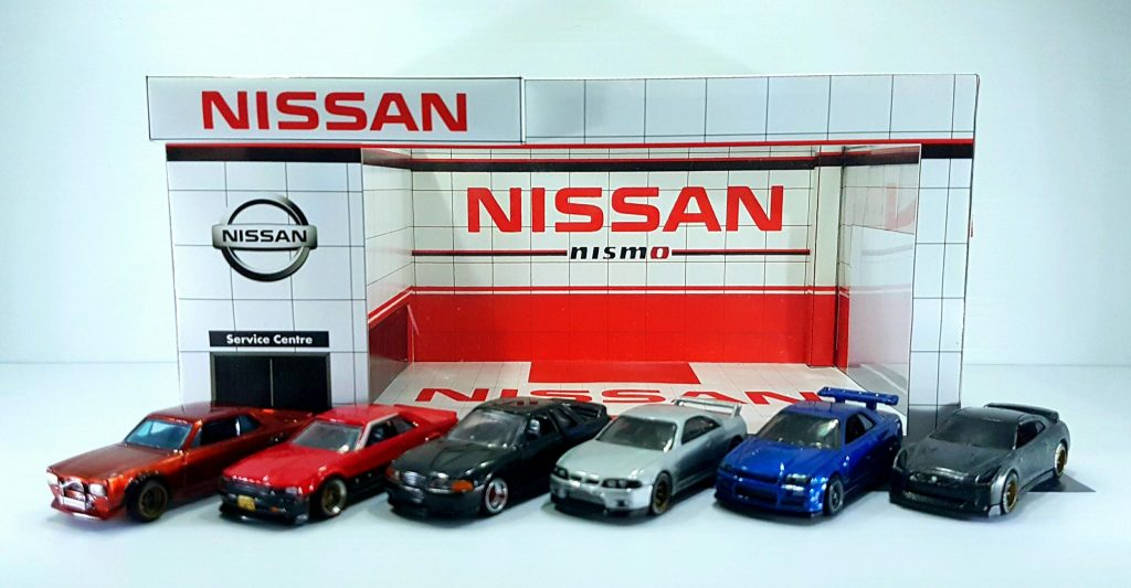 Nissan Dealership - Paper Diorama building for 1:64 scale dioramas