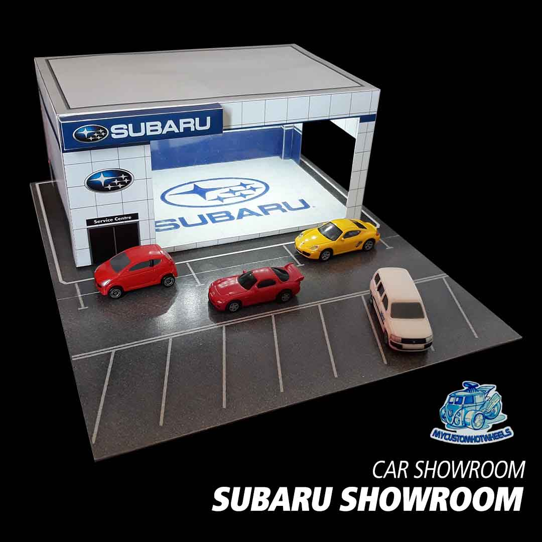 Subaru Showroom Car dealership - diorama building kit in 1/64 scale