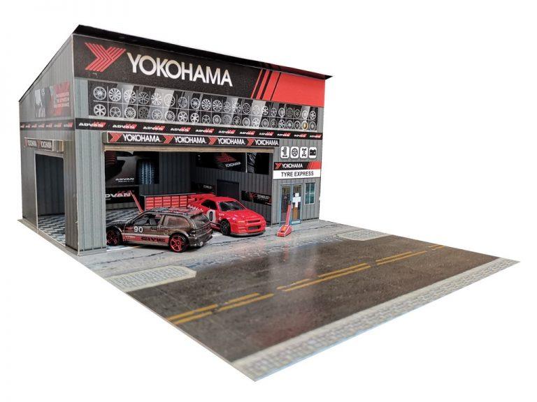 yokohama hotwheels garage diorama