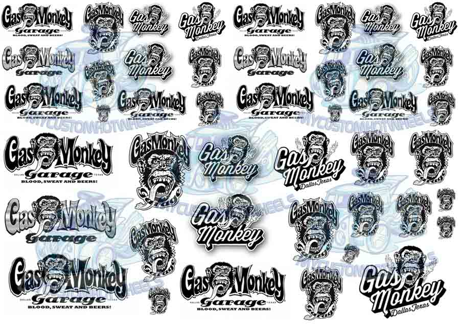 1/24 scale Gas Monkey Garage Waterslide Decals for Model Cars in all scales up to 1:18