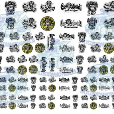 1/64 scale Gas Monkey Garage Waterslide Decals for Model Cars in all scales up to 1:18