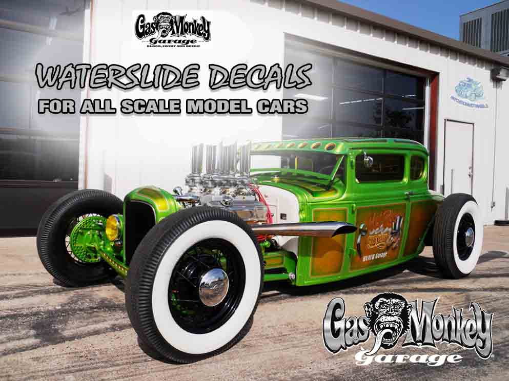 Gas Monkey Garage Waterslide Decals for Model Cars in all scales up to 1:18