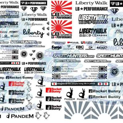 Liberty Walk LB Works and Rocket Bunny Pandem- waterslide decals for Model cars