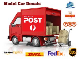 Courier and postal services decals and model car transfers