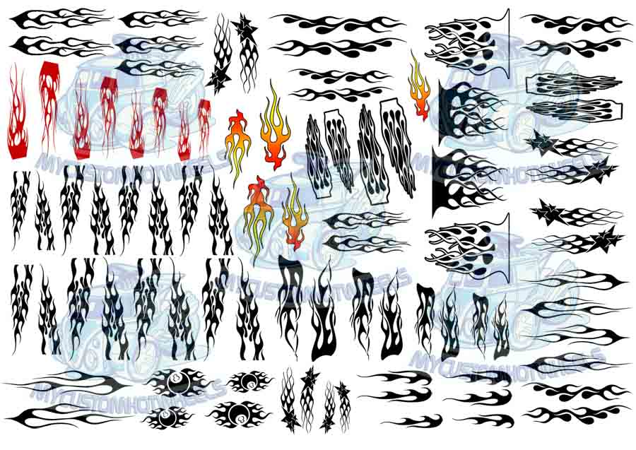 FLAME DECALS - racing transfers for 1/43 scale model cars