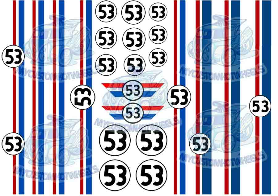 Herbie racing decals for 1/24 scale model cars