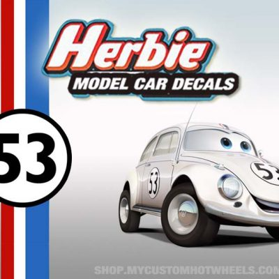 herbie racing decals for hot wheels and all scale model cars