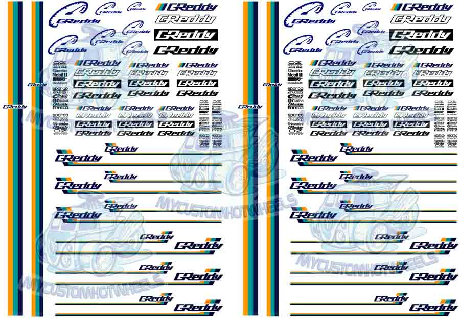 Greddy decals and racing transfers for Hot Wheels and 1:64 scale Model Cars