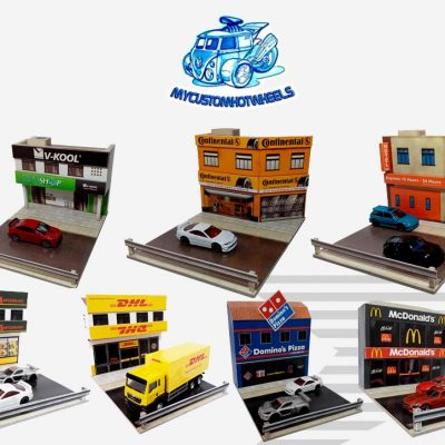Maccas Dominos DHL minimart diorama buildings for Hot Wheels and Diecast Cars