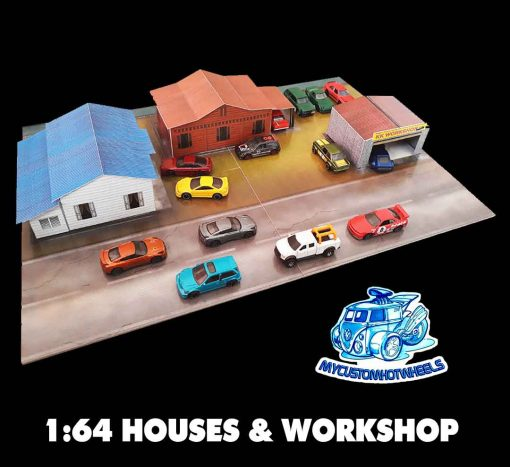 Houses and Workshop Diorama Building kit for Hot Wheels Diecast Cars
